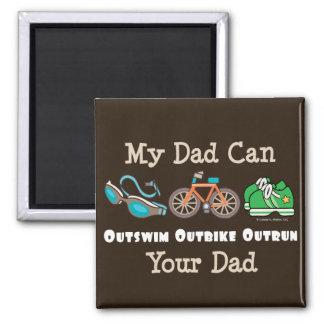 Dad Outswim Outbike Outrun Triathlon Magnet