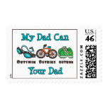 Dad Outswim Outbike Outrun Triathlon Stamps