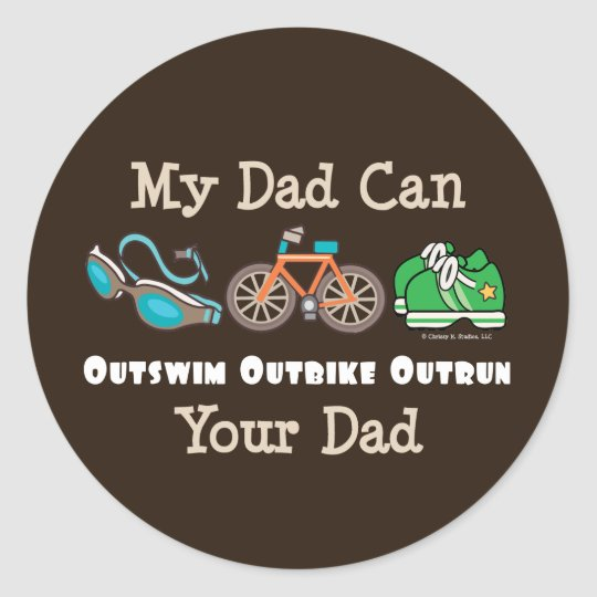 Dad Outswim Outbike Outrun Triathlon Stickers