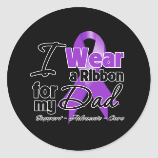 Dad - Pancreatic Cancer Ribbon Classic Round Sticker