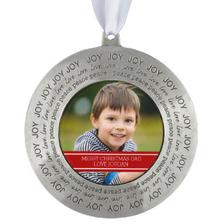 Dad Photo Christmas Ornament Red White