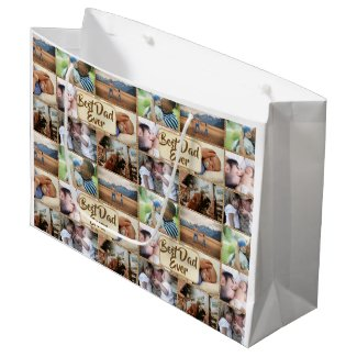 Dad photo collage DIY picture 6 pic collage Large Gift Bag
