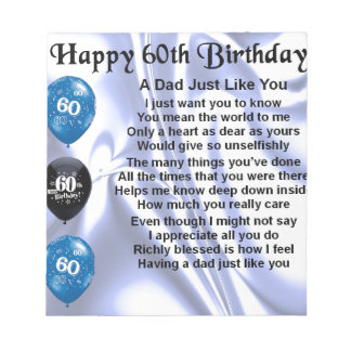 Dad Poem  60th Birthday Notepad