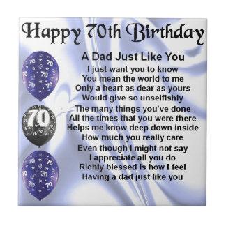 Dad Poem 70th Birthday Tile