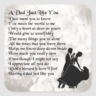 Dad Poem  -  Ballroom Dancers Square Sticker
