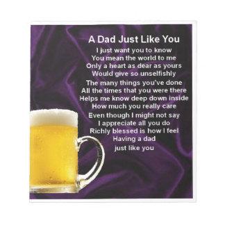 Dad Poem  -  Beer Design Notepad