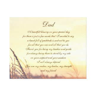 Dad poem canvas print