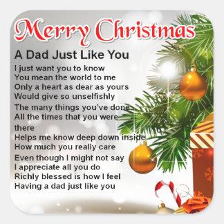 Dad Poem  - Christmas Design 1 Square Sticker