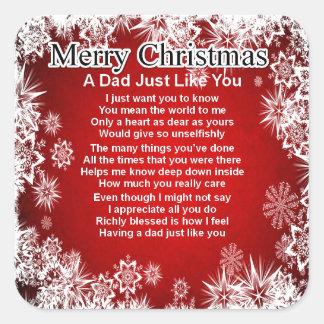 Dad Poem - Christmas Design Square Sticker