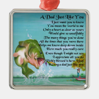 Dad Poem - Fishing Design Silver-Colored Square Decoration