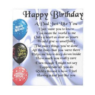 Dad Poem  Happy Birthday Notepad