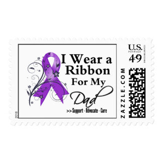 Dad Purple Ribbon - Pancreatic Cancer Postage Stamps