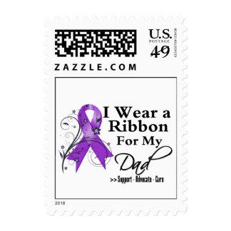 Dad Purple Ribbon - Pancreatic Cancer Postage Stamp