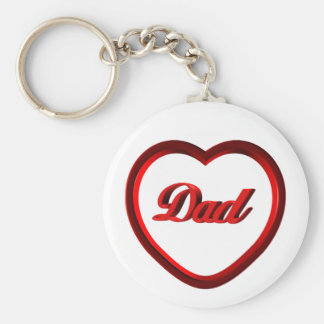 Dad Red Heart Frame Keychain