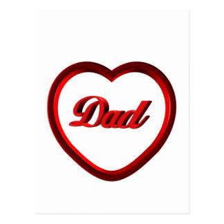 Dad Red Heart Frame Postcard