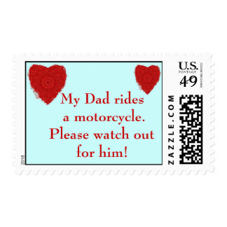 Dad rides a Motorcycle, watch out for him Postage