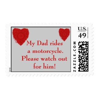Dad rides a Motorcycle, watch out for him Stamp