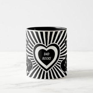 Dad Rocks -  Black & White Guitars & Heart Coffee Mugs