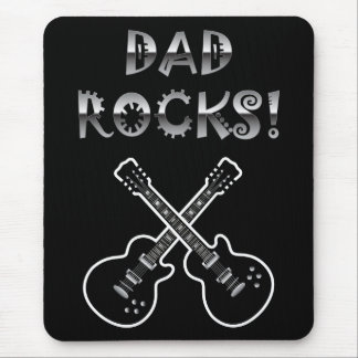 Dad Rocks!  Black & White Guitars Mouse Pad