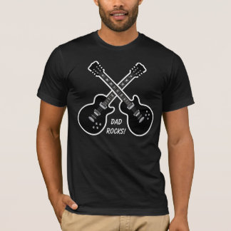 Dad Rocks!  Black & White Guitars T-Shirt