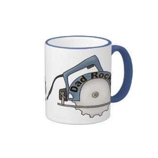 Dad Rocks Ringer Coffee Mug