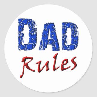 Dad Rules Classic Round Sticker