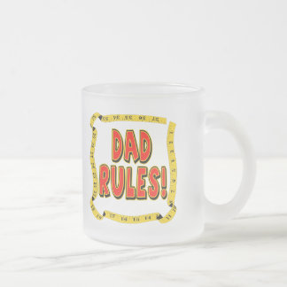 Dad Rules Gifts For Him Frosted Glass Coffee Mug