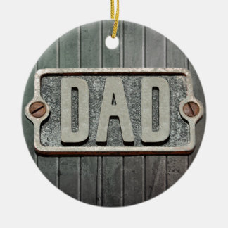 DAD Rustic Metal Plate Double-Sided Ceramic Round Christmas Ornament