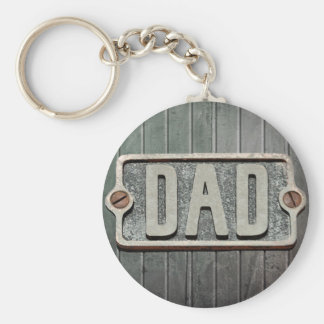 DAD Rustic Metal Plate Keychain