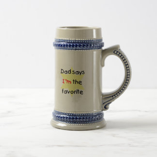 Dad Says I'm The Favorite (yellow) Beer Stein
