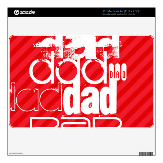 Dad; Scarlet Red Stripes Decal For The MacBook Air