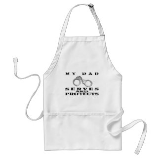 Dad Serves Protects - Hat Adult Apron