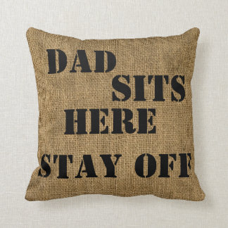 Dad Sits Here/Mustache - Polyester Throw Pillow