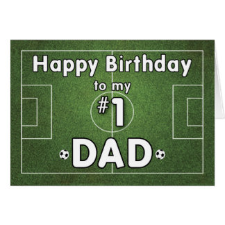 Dad Soccer Birthday with Grass Field and Balls, Sp Card