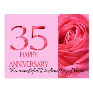 Dad & Step Mom Anniversary Card Pink Rose