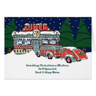 Dad & Step Mom Retro Diner Christmas Card