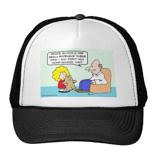 Dad suggests home schooling for teddy bear. trucker hat