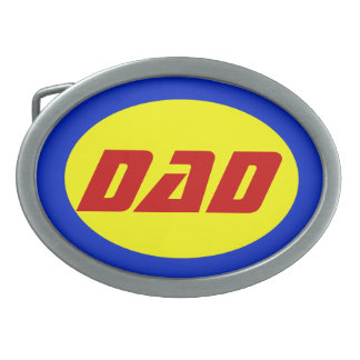 Dad Superhero Belt Buckle, Red/Yellow/Blue