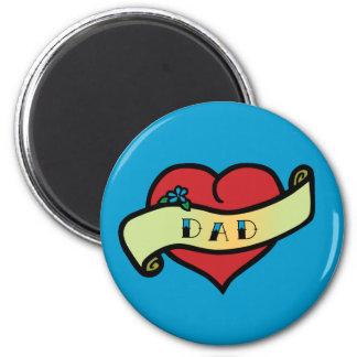 Dad Tattoo Heart Magnets