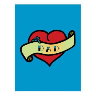 Dad Tattoo Heart Postcard