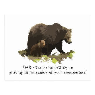 Dad thanks for being Awesome Bear Family Postcard