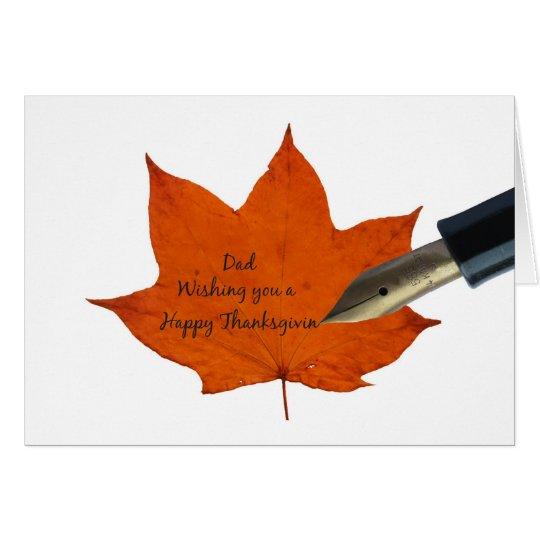 Dad thanksgiving maple leaf card
