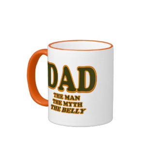 DAD The Man The Myth The Belly Funny Fathers Day Ringer Mug