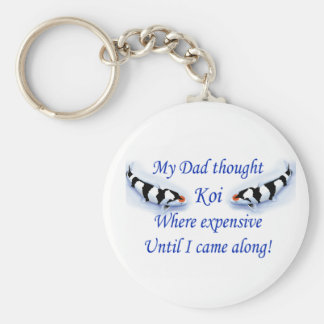 Dad thought koi where expensive....blue basic round button keychain