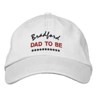 DAD TO BE Custom Name RED BLACK Embroidery V02 Cap