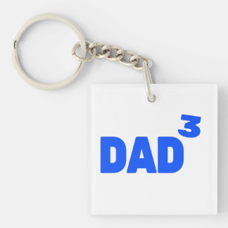 Dad To The Third Power Cubed Math Keychain
