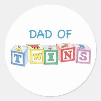 Dad Twins Blocks Classic Round Sticker