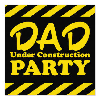 Dad Under Construction Party Announcements