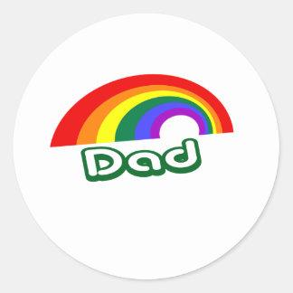 """Dad"" with rainbow Classic Round Sticker"