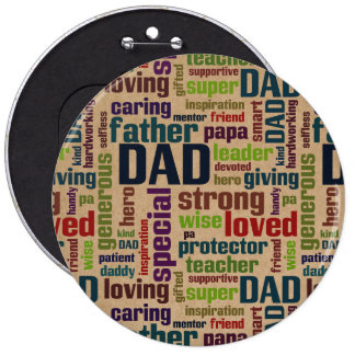 Dad Word Cloud Text Father's Day Typography 6 Inch Round Button